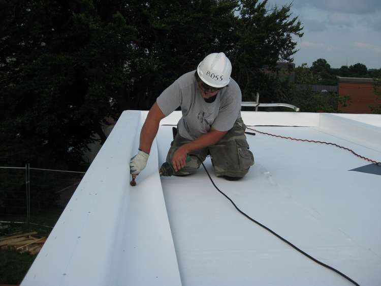 Installation of PVC membrane